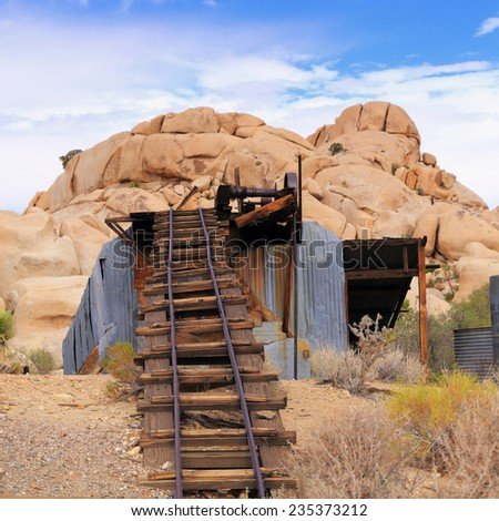 The Wall Street Stamp Mill in Joshua Tree National Park crushed gold ore when it was active early in the 20th Century. - stock photo