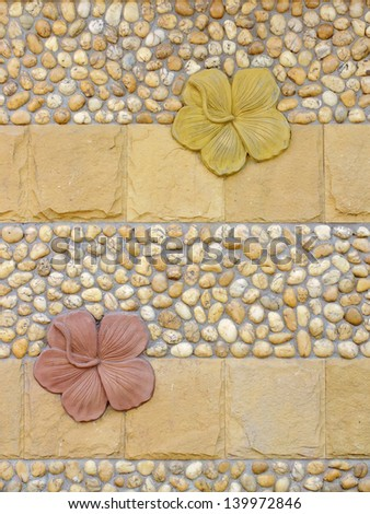 the wall with flower stucco - stock photo