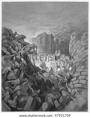 The walls of Jericho fall down -  Picture from The Holy Scriptures, Old and New Testaments books collection published in 1885, Stuttgart-Germany. Drawings by Gustave Dore. - stock photo