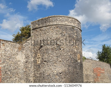 The walls of the City of Canterbury in Kent England UK