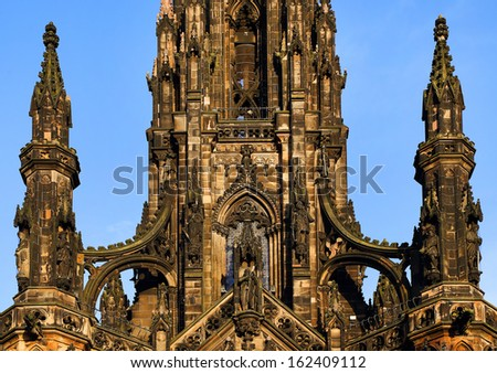 The Walter Scott Monument on Princess Street, Edinburgh, Scotland  - stock photo