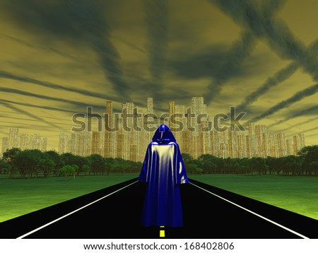 The Wanderer Approaches the City - stock photo
