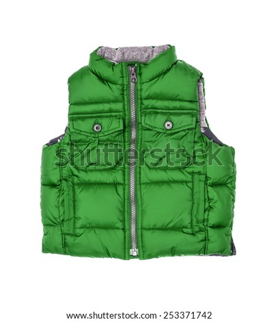 The warm children's green vest on a lightning isolated on the white - stock photo