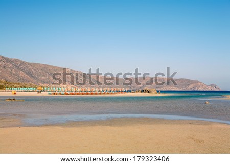 The warm lagoon at Elafonisos, or Elafonissos, beach on the coast of South-West Crete, Greece, one of the finest beaches in all Europe. - stock photo