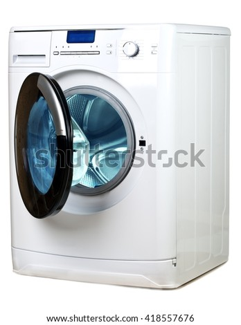 The washing machine on a white background - stock photo