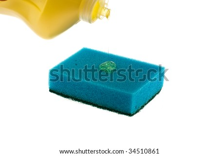 The washing-up liquid follows from a bottle on a sponge on a white background