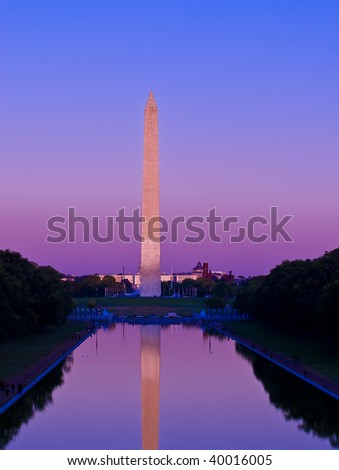 The Washington Monument at sunset reflecting into the pool. Located in Washington DC.