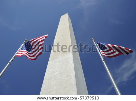 The Washington Monument flanked by American flags in Washington D C - stock photo