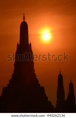 the Wat Arun at the Mae Nam Chao Phraya River in the city of Bangkok in Thailand in Southeastasia.