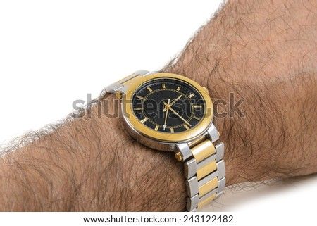 The watch on the man's hand - stock photo