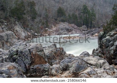 The water and rocks at Johnson Shut Ins State Park.