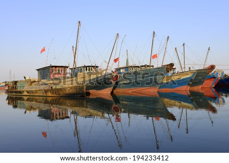The water at the many fishing boats in northern China