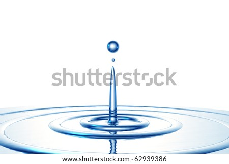 The water drop and ripples, are executed in the 3D-editor - stock photo