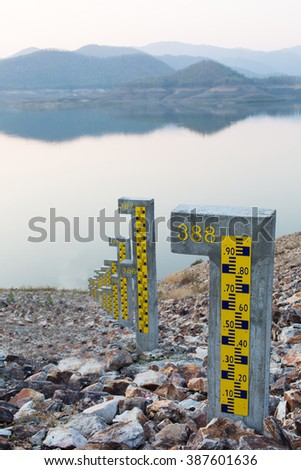 The water level in dam. - stock photo