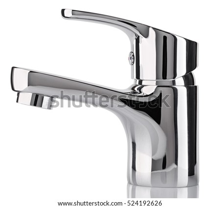 the water tap faucet for the bathroom and kitchen mixer isolated on a white