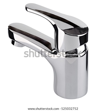 The water tap, faucet for the bathroom and kitchen mixer, isolated on a white background. Chrome-plated metal.