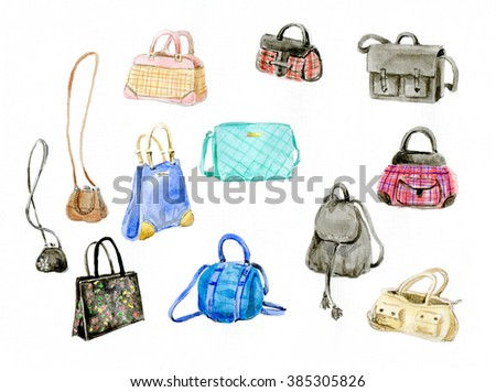 the watercolor assortment of handbags of different style and different way - stock photo