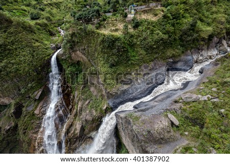 The Waterfall of Banos ,Ecuador ,pictures took from top view  - stock photo