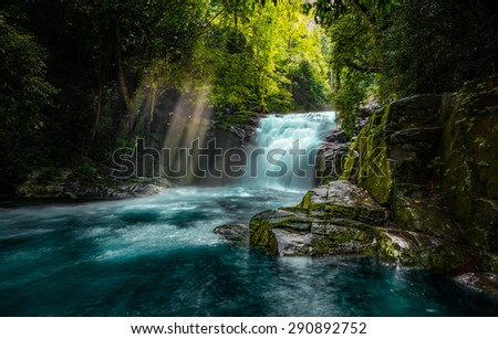 The waterfall with the crystal clear water  - stock photo