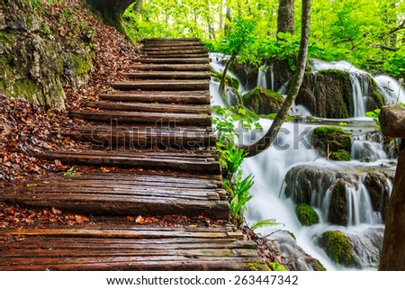 The waterfalls of Plitvice National Park in Croatia - stock photo