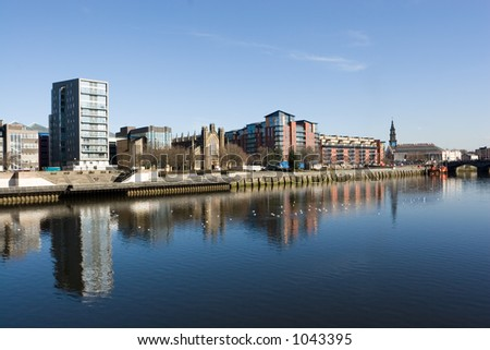 The waterfront at Clyde Street, Glasgow, Scotland - stock photo