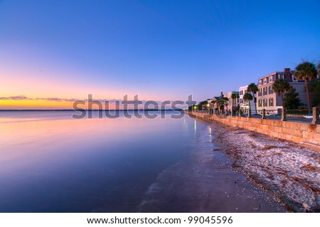 The Waterfront in Charleston, SC During a Summer Sunrise - stock photo