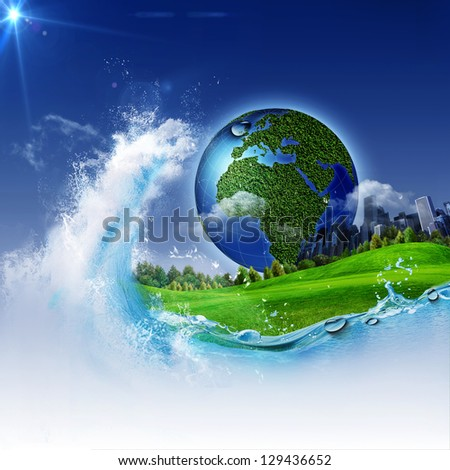 The wave of life. Abstract environmental backgrounds for your design - stock photo