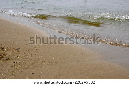The wave of the Black Sea on a sandy beach