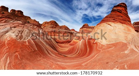 The Wave, Rock Formation at North Coyote Buttes in Utah USA  - stock photo