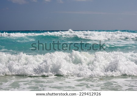 The waves of Caribbean sea, Cancun, Mexico - stock photo