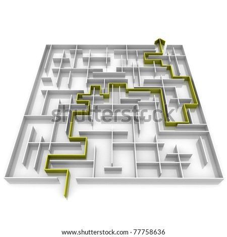 the way an arrow is laid on the labyrinth - stock photo