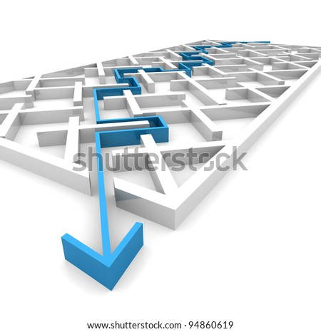 the way an arrow is laid on the labyrinth. computer Simulation - stock photo