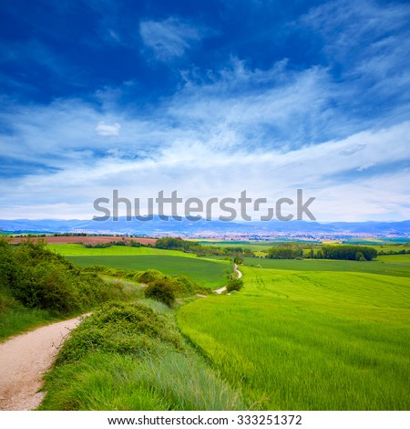 The way of Saint James track to Alto del Perdon top in Navarra Spain - stock photo