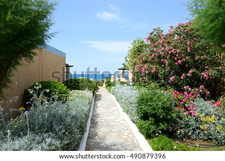 The way to beach at luxury hotel, Crete, Greece