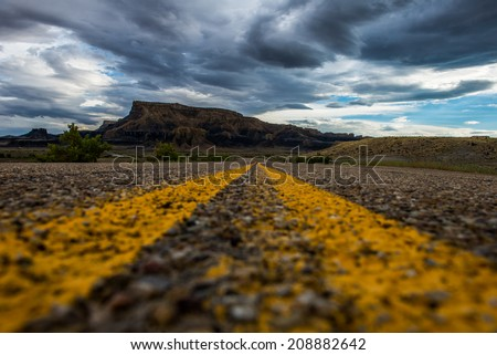 the way to Miller Canyon in the middle of street - stock photo