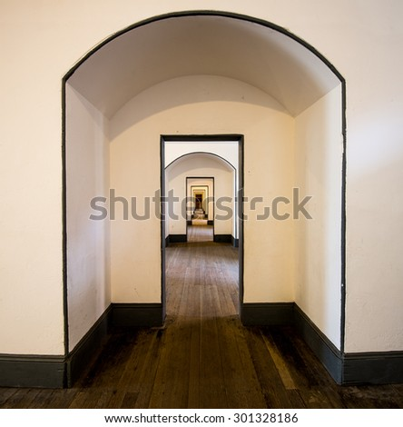 The way walk through the doors in Fort point building, Public sightseeing, San Francisco - stock photo