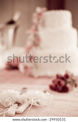 the wedding detail: cake, flowers, champagne - stock photo