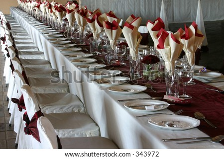 The wedding reception table - stock photo