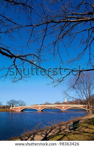 The Weeks Memorial Footbridge in Boston, Massachusetts. - stock photo