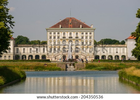 The well-known Nymphenburg Palace in Bavarias capital Munich - stock photo