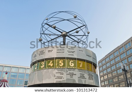 The Weltzeituhr (World Clock) at Alexanderplatz in Berlin - stock photo