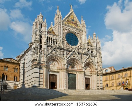The west facade of the Siena Cathedral in Opera della metropolitana. Siena, Italy - stock photo