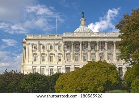 The Western Facade of the US Capitol Building, Washington DC. HDR Image. Horizontal Shot - stock photo