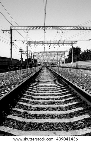 The Western-Siberian railway. Black-and-white photography, grain effect. - stock photo