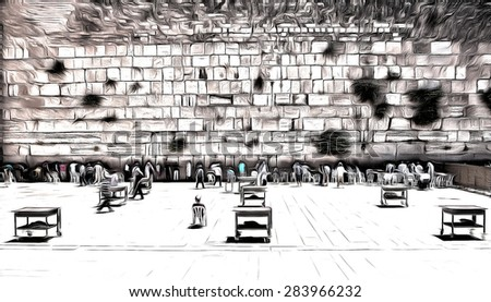 The Western Wall, Jerusalem . Persons is not recognizable  drawing filter - stock photo