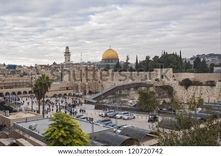The Western Wall,Temple Mount, Jerusalem, Sunset - stock photo
