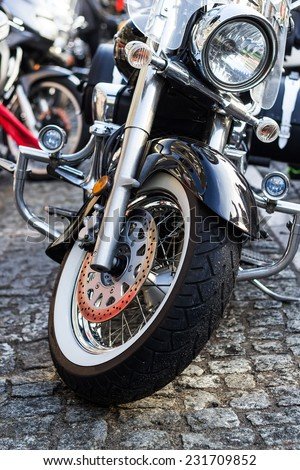 The wheel motor motorcycle parade - stock photo