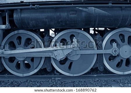 The wheel of an old steam train   - stock photo