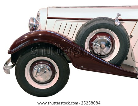 The wheels of ancient car isolated over white with clipping path. - stock photo