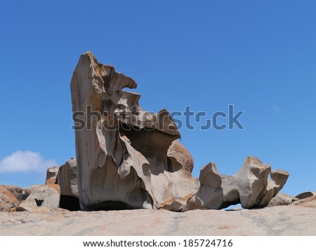 The whimsical shapes of the rocks in the national park Flinders  Chase at the coast of the Southern Ocean on  Kangaroo island in Australia - stock photo